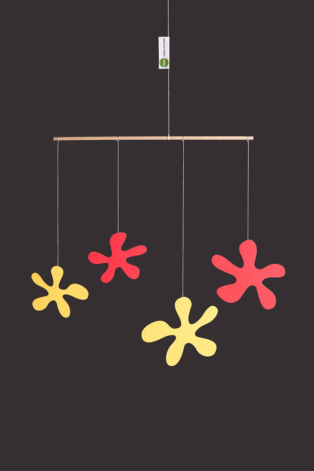 interiérová závěsná dekorace (mobil) - Luční květy malé